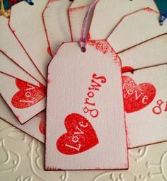 Valine time Tags  LOVE  GROWS Handmade and Stamped by germanpenney, $3.00