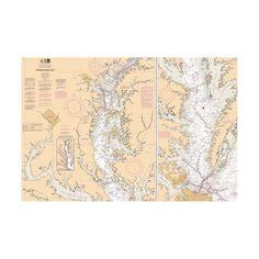 Antique Look Chesapeake Bay Nautical Chart Sailcloth Print