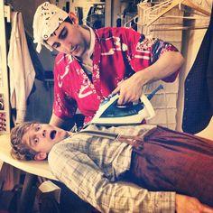 Ben Fankhauser & Andrew Keen-Bolger having a CAROLINE,OR CHANGE moment together.  Photo by keenanblogger • Instagram