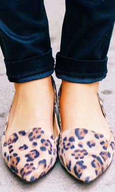 cUte Leopard Flats | The best thing about these leopard flats? They can be dressed up for day or night. #polkadot #animalprint #love