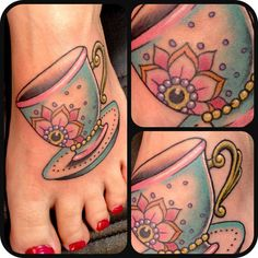 Teacup by Tanya Buxton - Black Heart Tattoo Studio, Epsom, UK