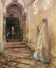 Algérie  -  Peintre American  Frederick Arthur Bridgman(1847-1928), huile sur toile 1886  , Titre :  Soraya