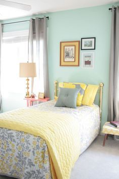 seafoam green, yellow and gray apartment colors