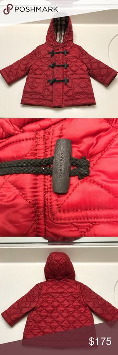 ⭐️Burberry Children's Quilted Jacket ⭐️ Burberry Children's Quilted Jacket with zip and toggle closure in burgundy red. Size 3 months. Used a few times with normal wear just needs to be dry cleaned! Otherwise perfect!! Retails for 250$ plus tax. Burberry Jackets & Coats Puffers