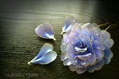 灯花堂☆ 簪・花かんざし 青い薔薇『小夜・sayo』髪飾り_画像3