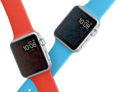 Apple Watch, Wallpaper, Facely, Design, Fashion, Colors, Red, Blue