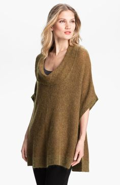 Eileen Fisher Cowl Neck Web Knit Sweater in Khaki (gold leaf)
