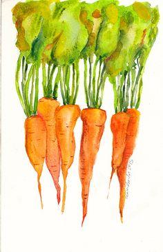 Carrots - watercolor by Serena Fenton