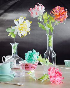 Dipped-Tip Paper Chrysanthemums DIY | Oh Happy Day!
