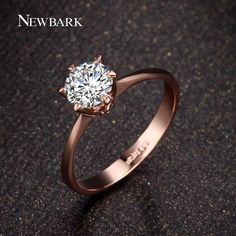 NEWBARK Forever Love Classic Wedding Band Rings 18K Rose Gold Plated 6 Prong Round Sparkling AAA CZ Diamond Rings Jewelry-in Rings from Jewelry on Aliexpress.com | Alibaba Group