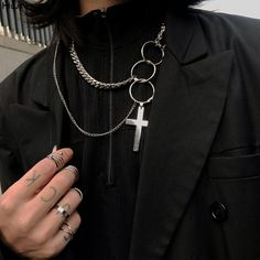Simple Necklace, Bar Necklace, Pendant Necklace, Grunge Jewelry, Goth Jewelry, Style Streetwear, Accesorios Casual, Cross Pendant, Hiphop