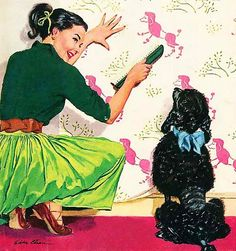 50s poodle madness...remind me to never go into that room...for American Weekly Magazine, Jan 1953 by Eddie Chan