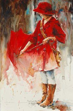 Girl with red coat & umbrella art