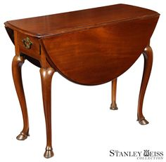 A Rare Hoofed Queen Anne Pembroke Table, New York, c.1725-35 | StanleyWeiss.com. The feet are hoofed with fetlock joints.