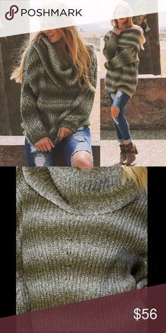 Mohair Blend Ombré Stripe Sweater olive Can be worn cowl neck or off shoulder. Long drop sleeves. Folded and tacked sleeve cuffs. 75% acrylic, 25% mohair.  Brand new boutique retail w/o tag. No trades, no off App transactions or negotiations. 👉🏽Touch BUY NOW to select size and purchase.👈🏽    ❗️PRICE IS FIRM UNLESS BUNDLED❗️ Leoninus Sweaters Cowl & Turtlenecks