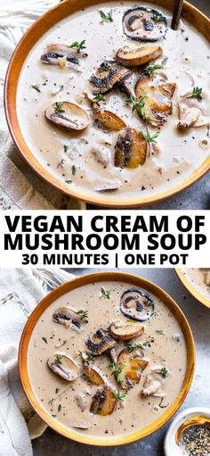 Vegan Cream of Mushroom Soup is made with wholesome ingredients and comes together in just 30 minutes. Gluten- and dairy-free, this hearty and healthy soup is pure comfort. Vegan Mushroom Soup, Mushroom Soup Recipes, Mushroom Cream Soup, Vegan Recipes Easy, Vegetarian Recipes, Cooking Recipes, Easy Vegan Soup, Creamed Mushrooms, Stuffed Mushrooms