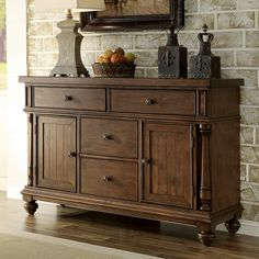 Store your extra dinnerware, flatware, and table linens in a buffet table or sideboard. Shop our great selection of stylish buffet tables and sideboards. Dining Room Server, Dining Buffet, Sideboard Buffet, Buffet Tables, Buffet Server, Riverside Furniture, Outdoor Dining Furniture, Quality Furniture, Rustic Kitchen