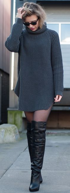 Oversized Knitted Turtleneck Hope Grand Sweater Dress
