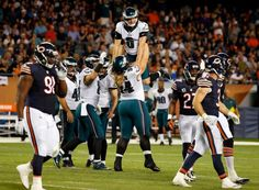 Philadelphia Eagles nose tackle Beau Allen (94) lifts up kicker Caleb Sturgis (6) to celebrates after Sturgis kicks a field goal during the first half of an NFL football game against the Chicago Bears, Monday, Sept. 19, 2016, in Chicago.