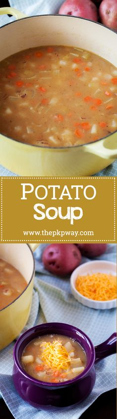 This potato soup will warm and nourish your insides! Potato Dishes, Potato Soup, My Favorite Food, Favorite Recipes, Feeding A Crowd, Slow Food, Recipes From Heaven, Diy Food, Soups And Stews