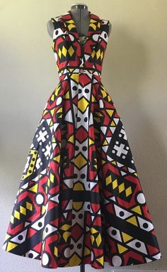 This piece is shown in vibrant red black yellow white geometric print but if you prefer diffe… (With images) African Dresses For Women, African Print Dresses, African Print Fashion, African Attire, African Wear, African Fashion Dresses, Fashion Prints, Fashion Design, African Prints