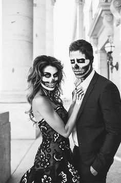 skeleton couple halloween makeup black and white photography