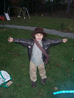 Youngest as Indiana Jones. I dyed some pants and white shirt tan. I'd also made the bag. This was one of my easier costumes to make.