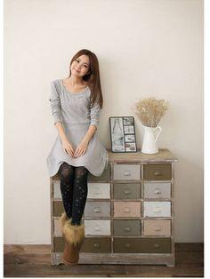 Elegant Long Sleeve Casual Dress Gray