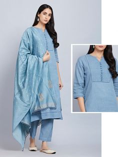 Greyish Blue Cotton Striped Kurta with Pants and Hand Block Printed Chanderi Dupatta- Set of 3 Simple Kurta Designs, Silk Kurti Designs, Kurta Designs Women, Salwar Designs, Kurti Designs Party Wear, Saree Blouse Designs, Dress Designs, Pakistani Fashion Party Wear, Pakistani Dress Design