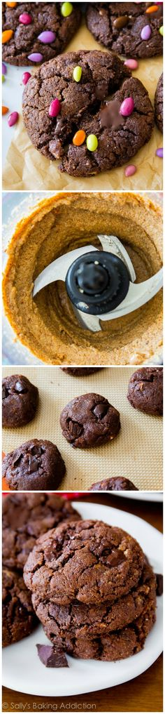 These 6 ingredient Flourless Dark Chocolate Almond Butter Cookies are so good, you won't miss the butter and flour!