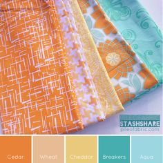 This bundle includes (left to right) Madrona Road, Riley Blake print, Summersville Spring, Heriloom by Joel Dewberry, Essentials Too by Studio K. Coordinating Kona Cotton Solids (not shown) based on the color palette from left to right are Cedar, Wheat, Cheddar, Breakers, Aqua.
