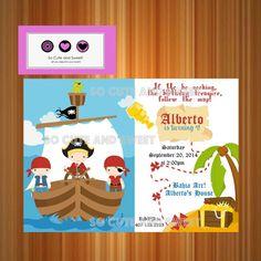 Pirate Invitation, Treasure Map, Pirates Birthday Party, #Treasure #Map #pirate #invitation by socuteandsweet $12.00