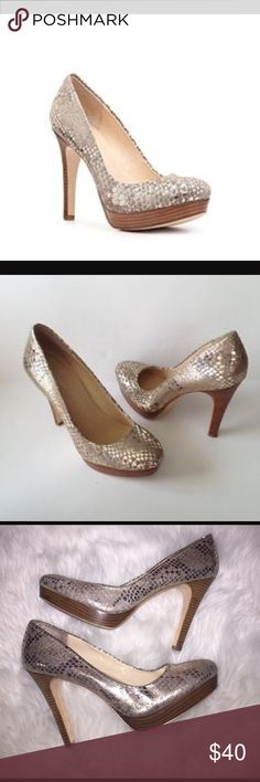 """Calvin Klein Kendal Metallic Heels 9 1/2 M Stand out in the crowd when you wear these Calvin Klein Kendall heels.This metallic pump is the perfect pop of shine, finely gold accented, comes in a Sz 9 1/2, gently used. Minimal wear/scuff...5"""" heel Calvin Klein Shoes Heels"""