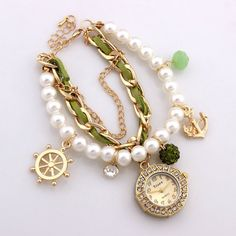 Fashion Bracelet Wristwatches Women Rhinestone Watches Alloy Case Analog Acrylic Watch