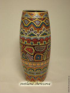 Dot Painting Tools, Dot Art Painting, Pottery Painting, Ceramic Painting, Mandala Painting, Ceramic Art, Bottle Painting, Bottle Art, Aboriginal Dot Art