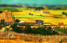La cosecha, 1888. Van Gogh. VAN GOGH EN MINIATURA (TILT-SHIFT). REHACIENDO ARTE.