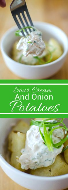 Looking for an easy and flavorful side? These sour cream and onion potatoes only have a few simple ingredients but are packed with flavor! Perfect for any get together! Dinner Side Dishes, Best Side Dishes, Side Dish Recipes, Best Potato Recipes, Vegetable Recipes, Free Recipes, Favorite Recipes, Healthy Sides For Chicken, Best Comfort Food