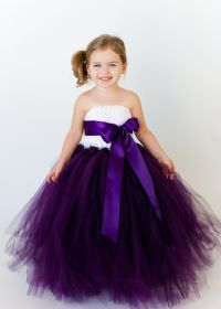 Simply Elegant Dresses - Plum and White with Custom Sash - Girls and Boys Wedding Attire : Flower Girl Tutu Dresses : Accessories, dresses, tutus, ring pillows, tux, skirts, and Hats