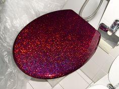 purple glitter toilet seat wet paint