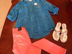 "Brighten up today with James Jeans ""Twiggy"" in apricot and a gold Lilly sandal! Pair Harper Jewelry for even more sparkle!"