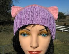Pussy Cat Hat, Knit Pussy Hat, Adult hat, Knit Cat Hat, Handknit Beanie by NorthStarAlpacas on Etsy