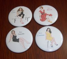 Sex and the City Set of 4 Pinback Buttons 2 by PopCultureButtons, $5.99