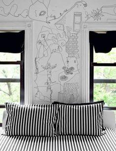 teenagerzimmer schwarzweiße wand design ideen wandmalerei