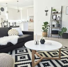 modern living room country living room living room furniture living room decor ideas small living room on a budget. - October 05 2019 at Living Room White, Living Room On A Budget, Home Living Room, Living Room Furniture, Apartment Living, Black And White Living Room Ideas, Rustic Furniture, Living Room With Carpet, Black Sofa Living Room Decor