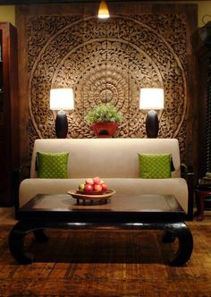 India modern Living Room with Indian architecture backdrop