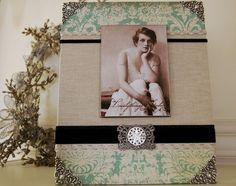 Photo Frame, Decorative, Handmade, linen, green, black velvet with vintage details