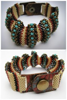 Peyote Wave bracelet with leather snap closure.  Lindy's Designs    www.lindysdesigns.com