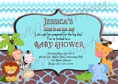 Free Baby Shower Invitations, Digital Invitations, Baby Shower Printables, Shower Party, Baby Shower Parties, Baby Shower Themes, Shower Ideas, Safari Theme Party, Party Themes