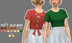 """blushchat: """" riley blouse recolours """"soft autumn"""" + 2 patterns • mesh is required, get it here • base game compatible • cas standalone • hope you like it ʕ•ᴥ•ʔ • download: simfileshare """""""