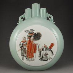 Hand Draw Chinese Iron Red Glaze Porcelain Vase w Marke